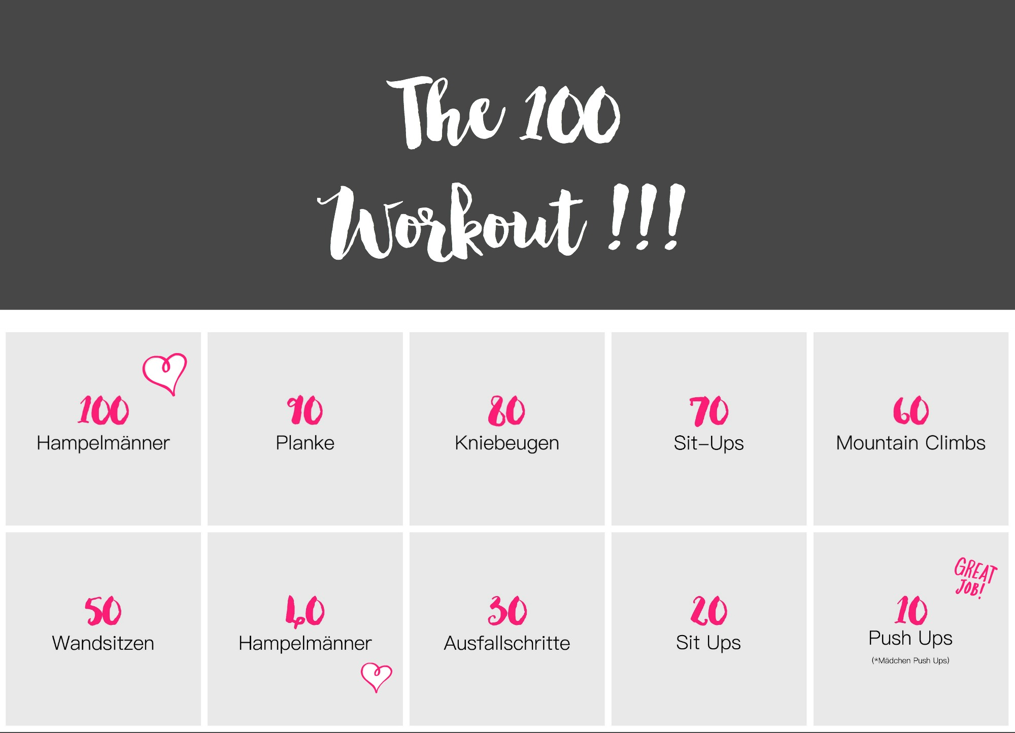 Home Fitness. The 100 Workout!