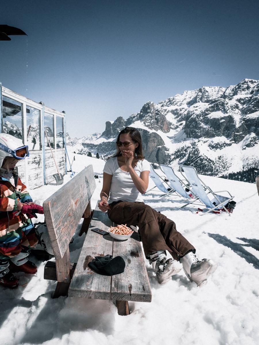 Reisebericht Dolomiten - Essen auf der Piste